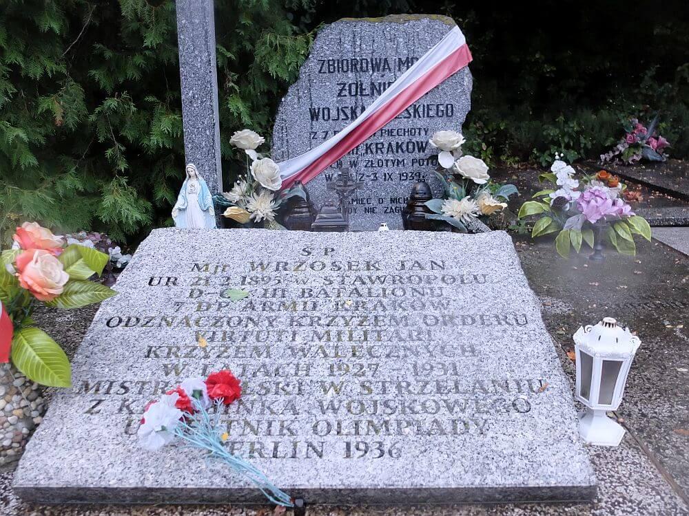 Zbiorowa mogiła żołnierzy Wojska Polskiego z 7. Dywizji Piechoty Armii Kraków na cmentarzu w Złotym Potoku oraz grób majora Jana Wrzoska