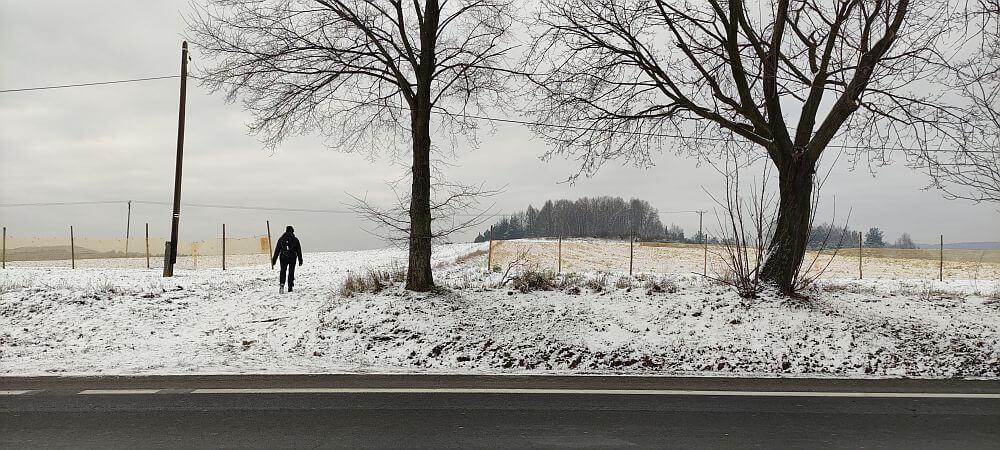 Odejście Szlaku Kroczyckiego od cmentarza w Kroczycach na zachód